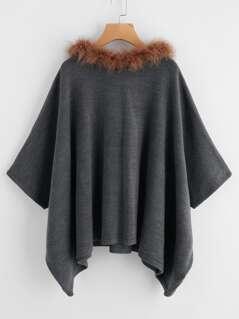 Hanky Hem Faux Fur Trim Hooded Poncho Sweater