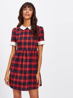 Contrast Trim Buttoned Bow Back Checkered Dress