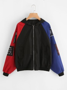 Contrast Sleeve Patch Detail Zip Up Jacket