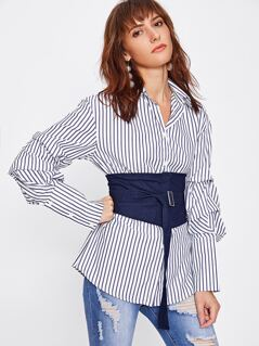 Obi Belt Detail Gathered Sleeve Pinstripe Blouse