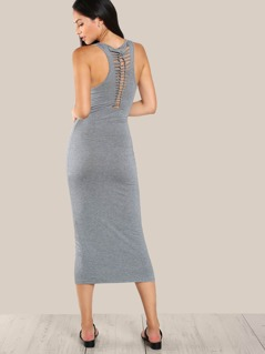 Back Detail Stretch Knit Dress GREY