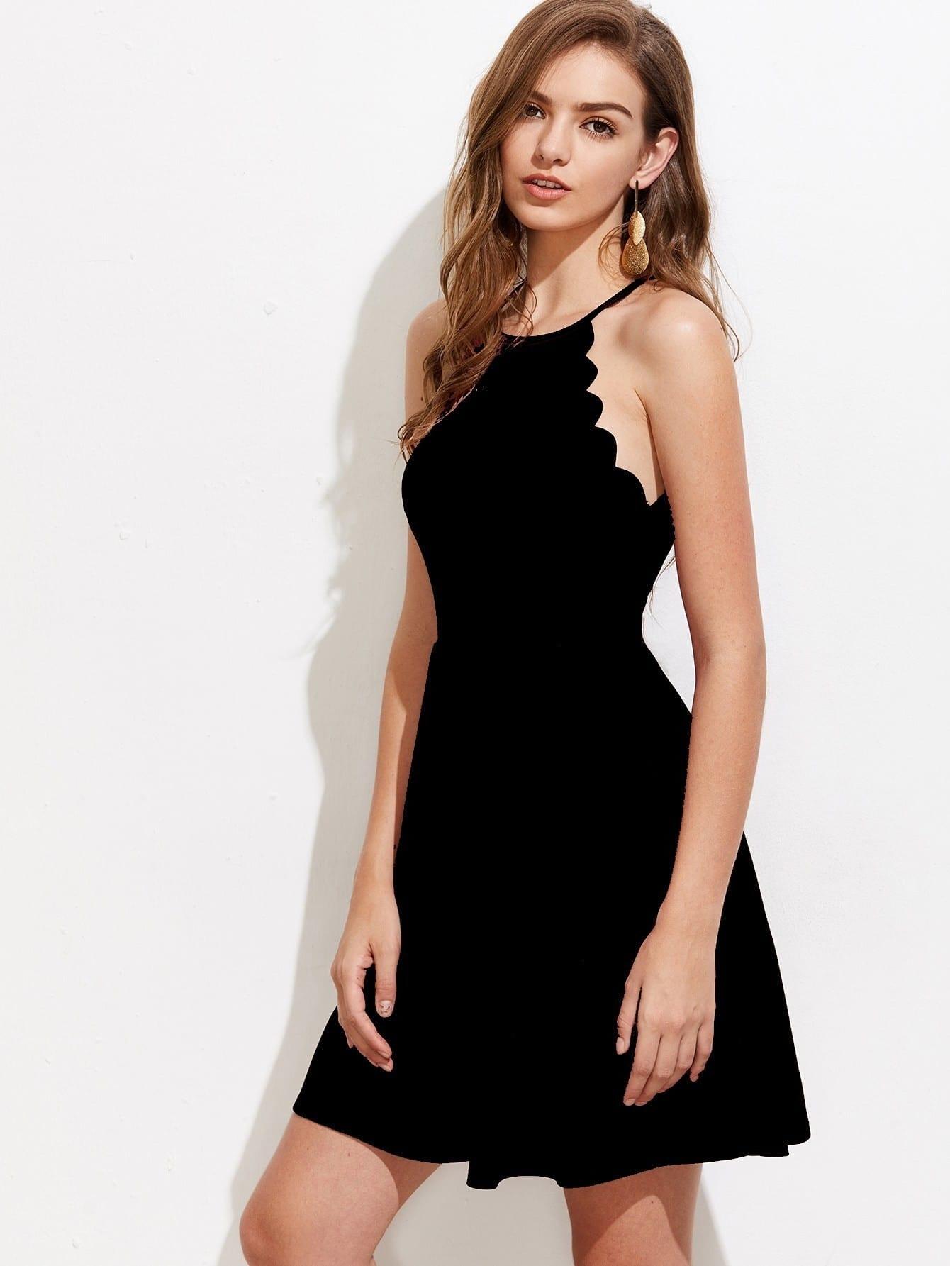 Купить Модное платье на бретельках с фестонами, Luiza, SheIn