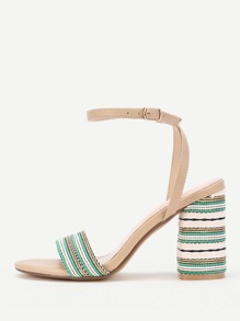 Striped Ankle Strap Heeled Sandals