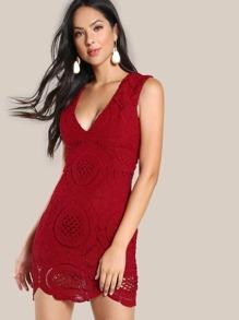 Plunge Neck Scalloped Hem Lace Dress