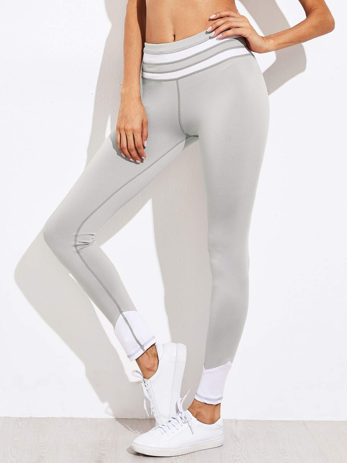 Active Contrast Paneled Leggings leggings170817304