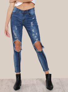 Zipper Detail Distressed Skinny Jeans DENIM