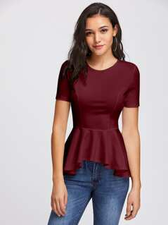 Princess Seam Asymmetric Hem Peplum Top