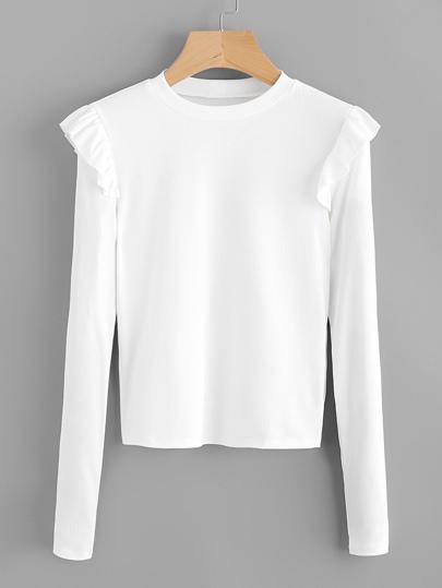 Frill Trim Ribbed Tshirt