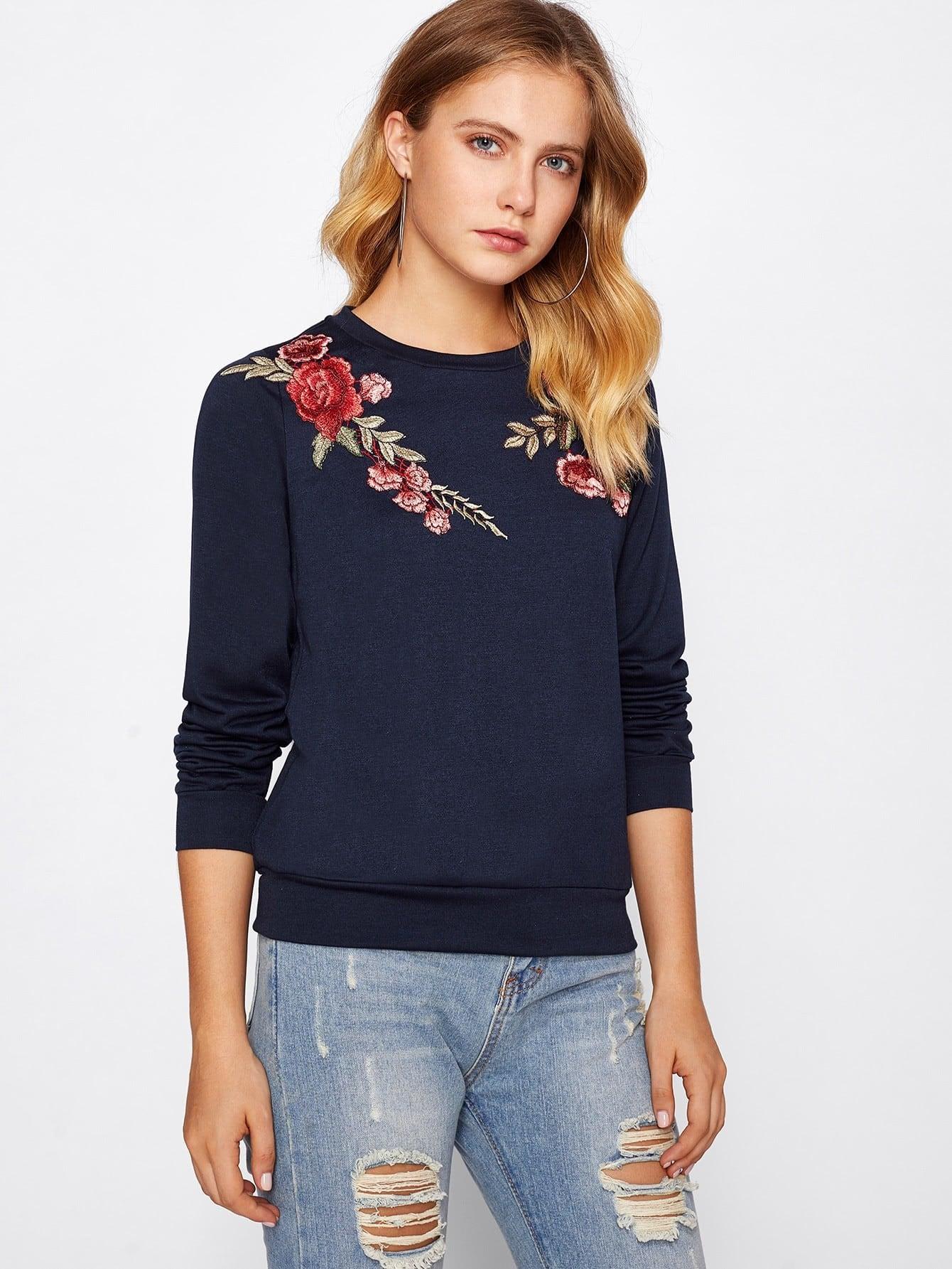 Купить Модный свитшот с вышивкой, Nastyab, SheIn