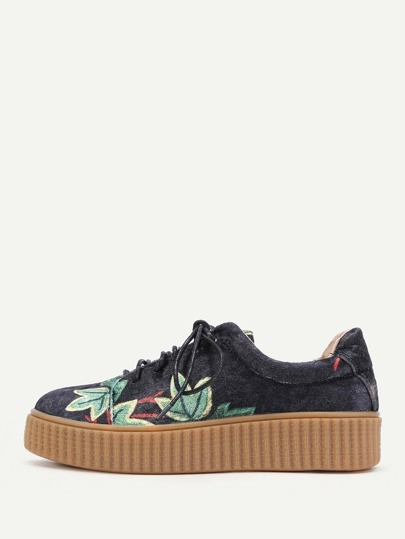 Flower Print Lace Up Velvet Sneakers