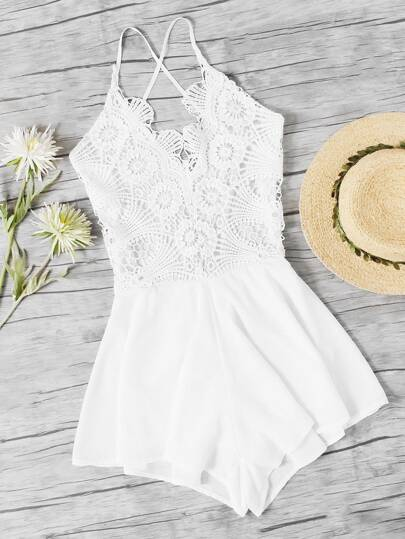 Lace Panel Criss Cross Open Back Romper