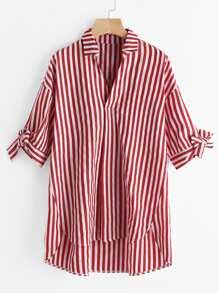 Contrast Striped Drop Shoulder Tie Cuff Dip Hem Blouse