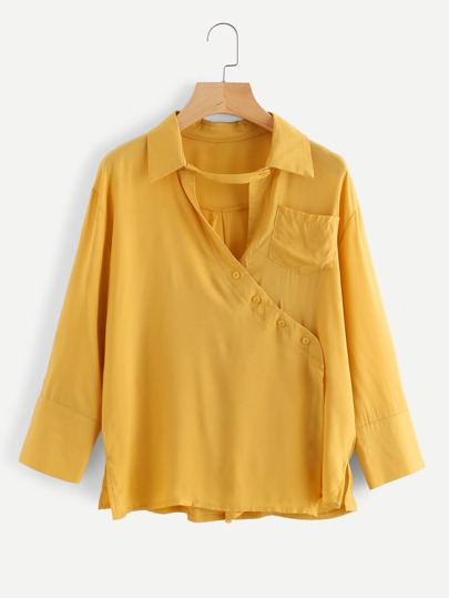Button Detail Surplice Blouse With Chest Pocket