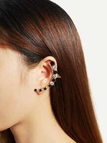 Contrast Rhinestone Decorated Ear Cuff 1pc
