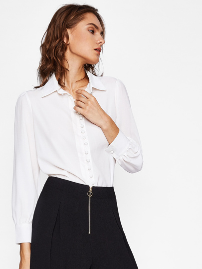 Button Front Chiffon Shirt
