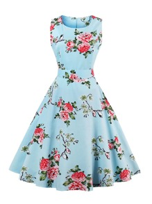 Random Florals Bow Tie Back Circle Dress