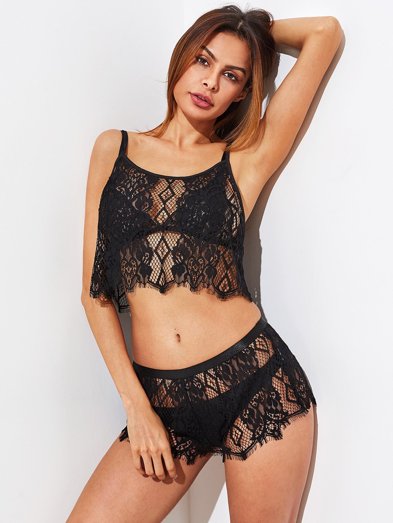 Hollow Out Lace Cami Top And Shorts Pajama Set lace insert crop cami and shorts pajama set