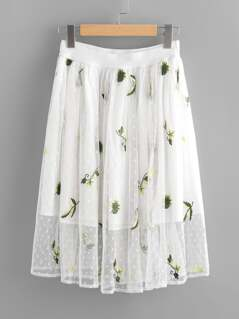 Embroidered Dot Mesh Overlay Skirt
