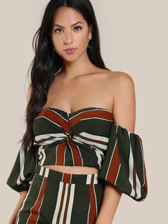Front Twist Bardot Sleeve Crop Top DARK GREEN