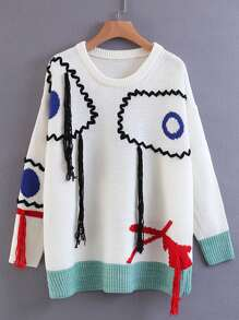 Eye Embroidery Slouchy Sweater With Fringe