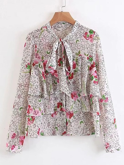 Flower Print Tie Neck Tiered Blouse