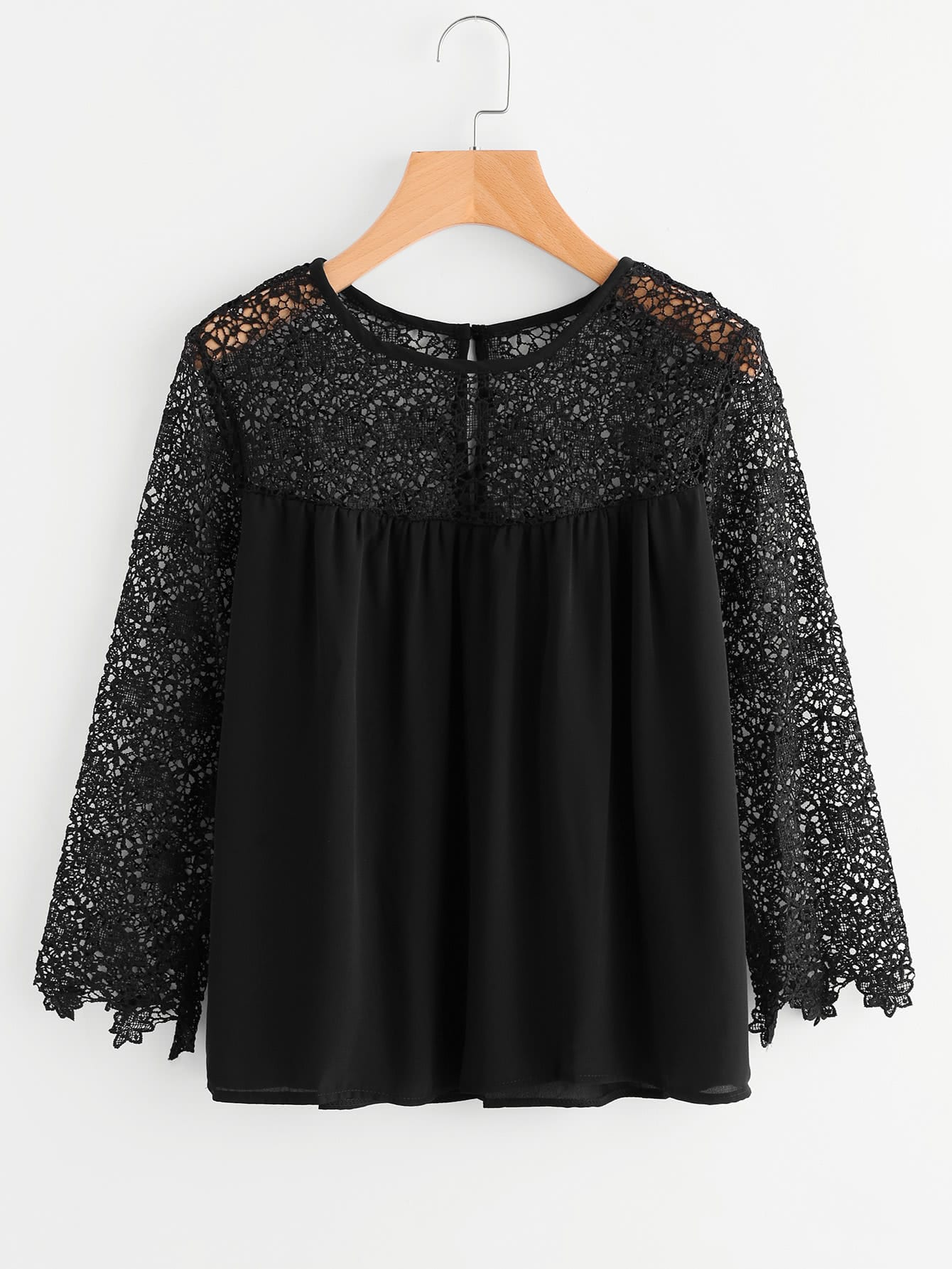 Hollow Out Crochet Paneled Blouse hollow out crochet panel blouse