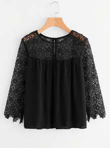 Hollow Out Crochet Paneled Blouse