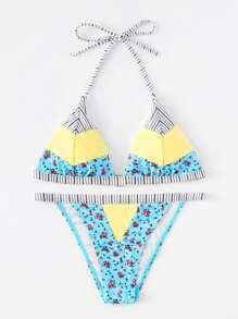 Ensemble de Bikini imprimé fleur rayure