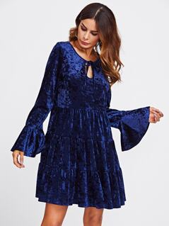 Keyhole Tie Neck Bell Cuff Tiered Velvet Dress