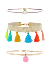 Mini Tassel Decorated Choker Necklace