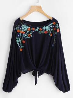 Knot Front Embroidered Dolman Top
