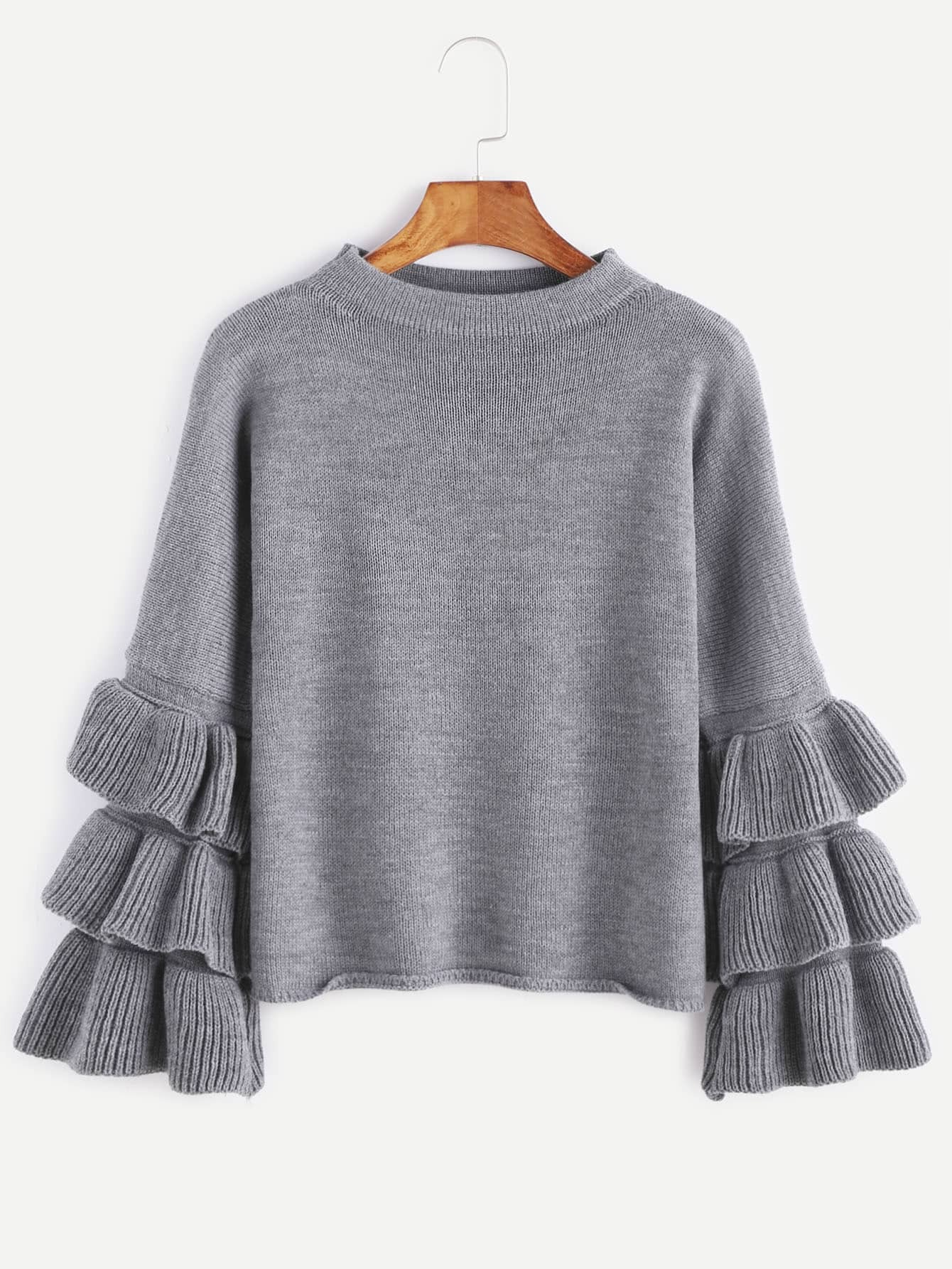 Grey Layered Ruffle Sleeve Pullover Sweater