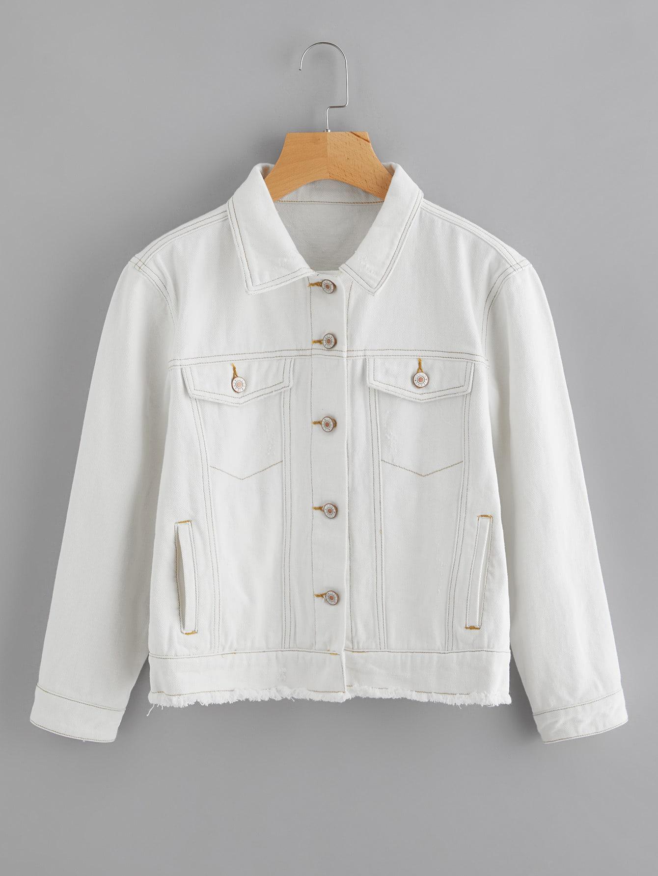 Image of Light Wash Topstitch Frayed Denim Jacket
