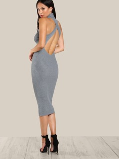 Ribbed Turtleneck Bodycon Dress GREY