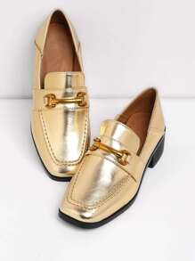 Chaussures à talons block en PU détail de métal