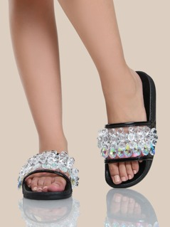 Crystal Beaded Slides BLACK