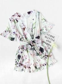 Floral Print Random Wrap Chiffon Romper With Belt