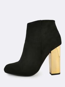 Metallic Heel Zip Up Booties BLACK