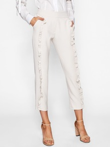 Frill Trim Full Length Pants