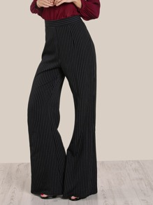 High Rise Pinstripe Pants BLACK WHITE