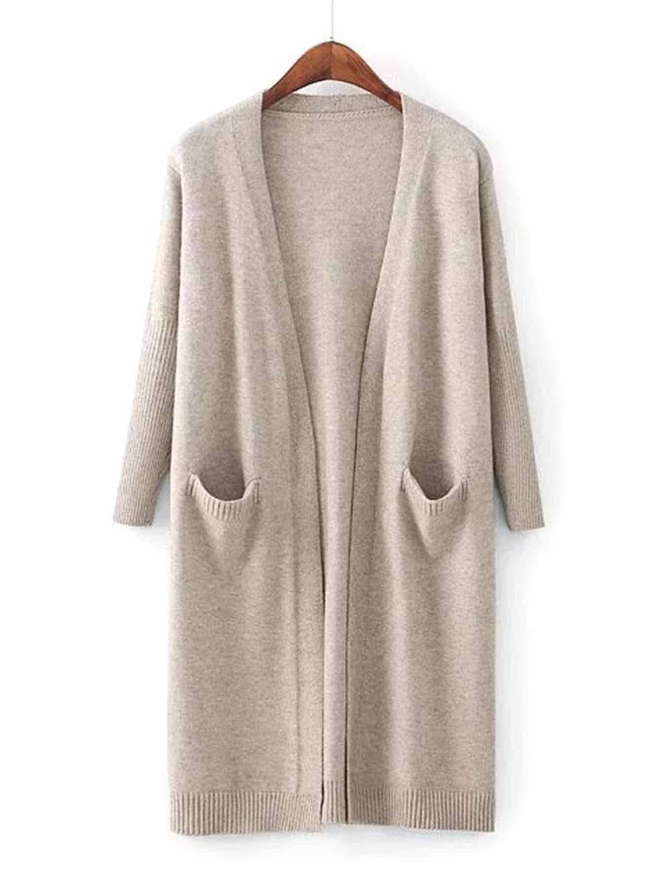 Front Pocket Ribbed Detail Longline Cardigan sweater170830201