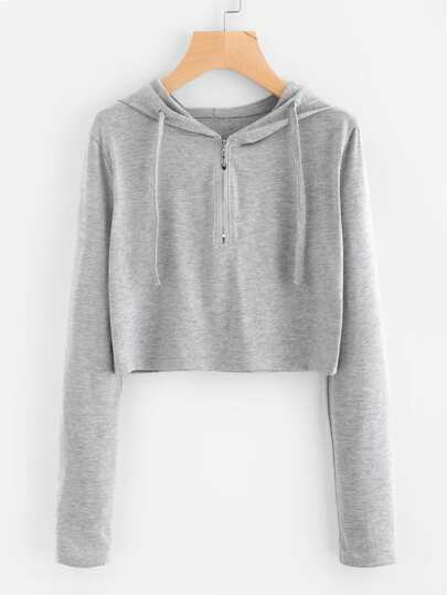 Hooded Zipper Up Marled Crop Tee