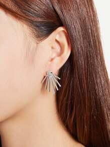 Metal Rays Shaped Ear Jacket 2pcs