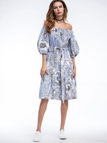 Bardot Floral Print Puff Sleeve Self Tie Dress