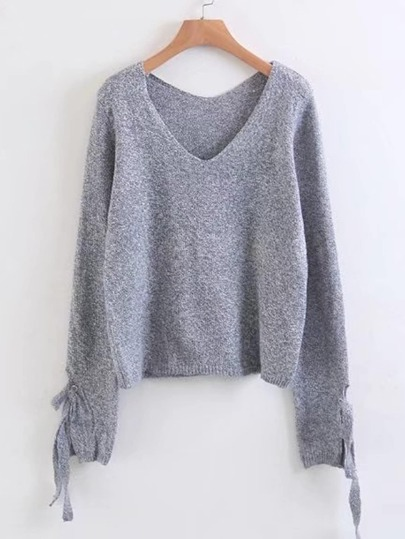 Eyelet Lace Up Cuff Marled Knit Sweater