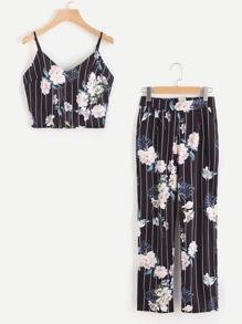 Camisole floreale con pantaloni