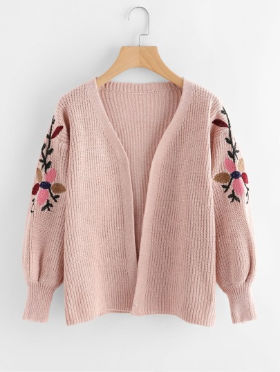Floral Embroidered Sleeve Knit Cardigan Sweater