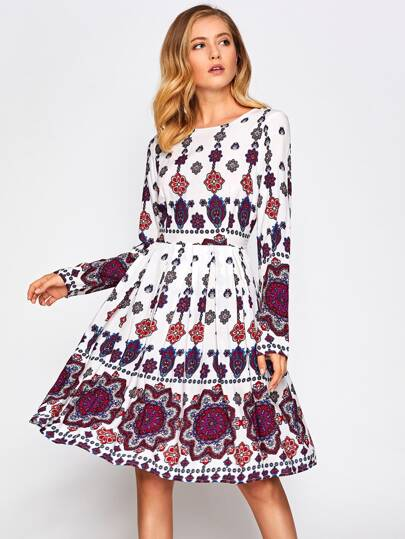 Ornate Print Box Pleated Fit & Flare Dress