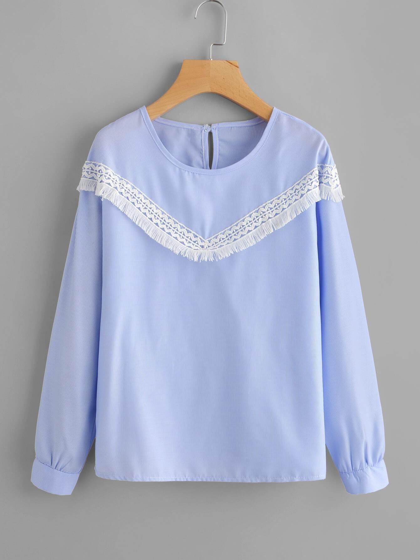 Contrast Crochet Applique Pinstriped Blouse lace crochet contrast neck blouse