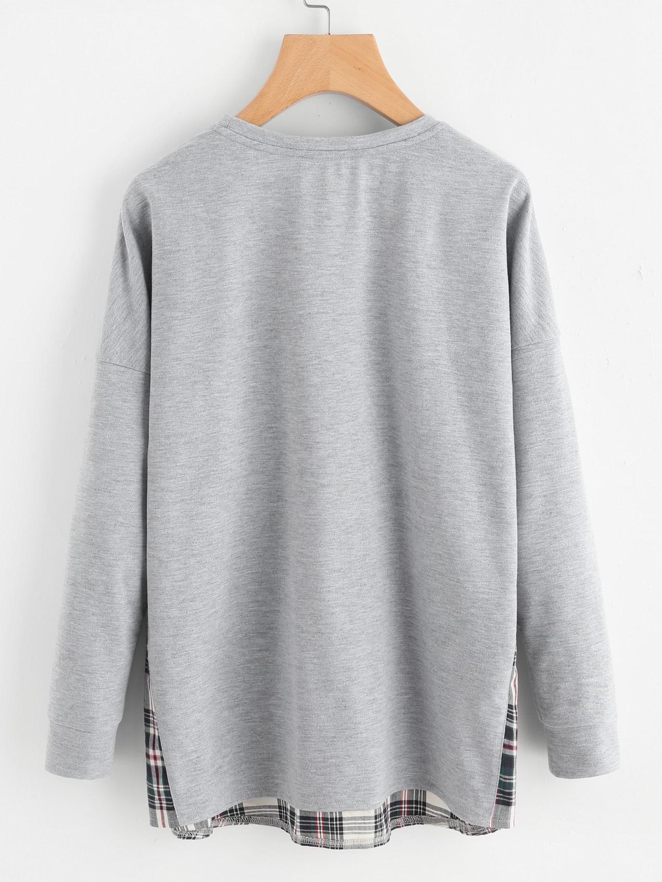 Drop Shoulder Checkered Hem Heathered Sweatshirt